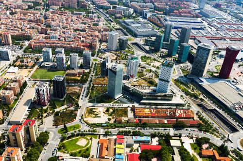 Tuinposter Barcelona Aerial view of Sants-Montjuic district. Barcelona