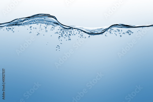 Foto op Canvas Water Water and air bubbles over white background