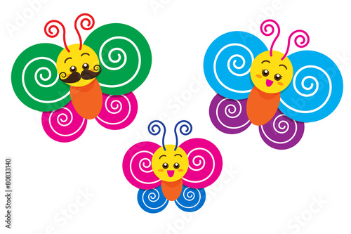 Photo Stands Butterflies Smile Happy colorful butterfly family on the white background