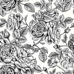 Panel Szklany Czarno-Biały Seamless pattern with roses.