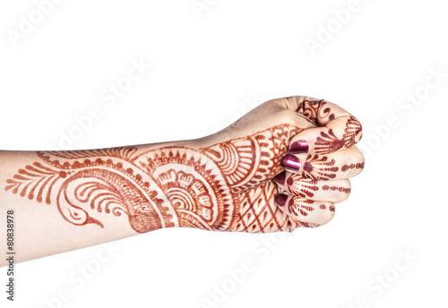 Adi mudra with henna Billede på lærred