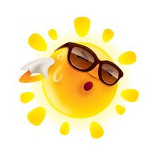 Summer Sun Feeling Hot And Wiping Sweat.