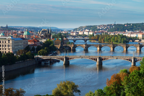 Aluminium Prints Prague Bridges of Prague over VLtava river