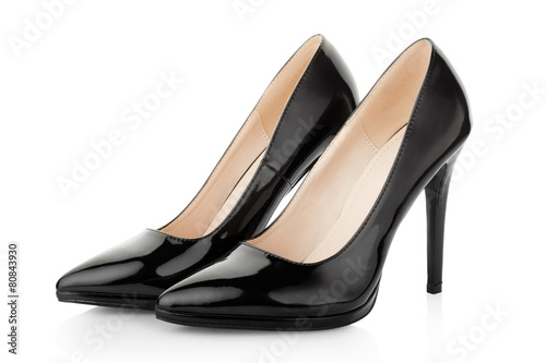 Fotografía  Black high heel shoes for woman on white, clipping path