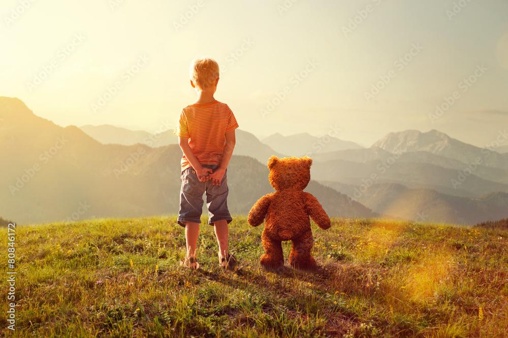 Fototapeta Toddler and Teddy