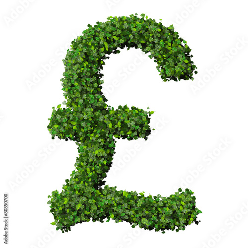 British Pound Currency Symbol Or Sign Made From Green Leaves