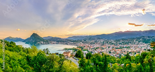 Fotografie, Obraz  Lugano im Sonnenuntergang