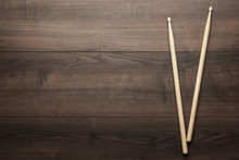 Wooden Drumsticks On Wooden Table