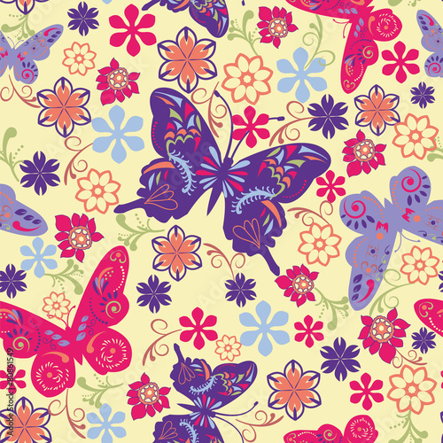 Fototapety, obrazy: Butterfly and Flower Seamless Pattern - Illustration
