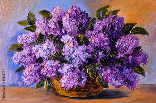 oil painting on canvas - a bouquet of lilacs , made in the style
