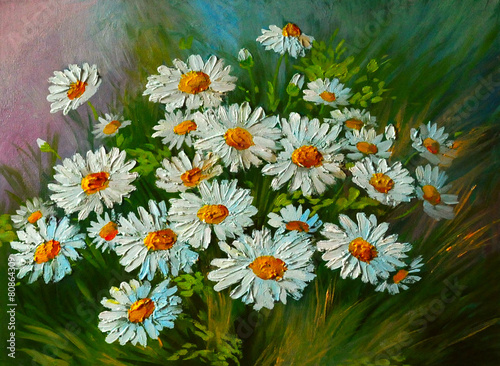 Oil Painting - abstract illustration of flowers, daisies, greens - 80864309