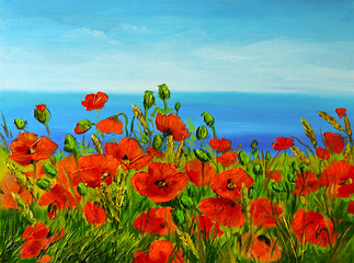 Panel Szklany poppy field near the sea, colorful coast, art oil painting