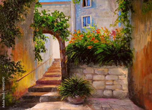 obraz-olejny-ulica-pelna-kwiatow-kolorowa-akwarela