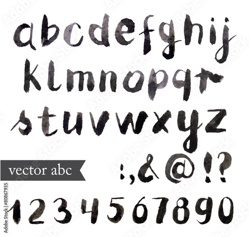 Fotografía  Vector Watercolor Alphabet. Brush font.
