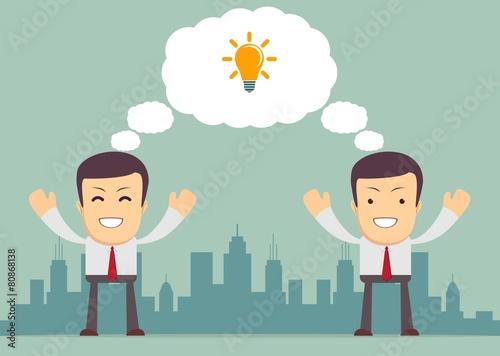 Businessmen thinking . Vector Wallpaper Mural