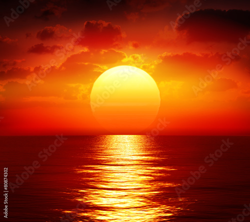 Poster Mer coucher du soleil sunset over calm sea