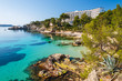 Turquoise sea in Cala Fornells bay, Majorca island, Spain