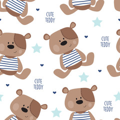 Tapeta seamless teddy bear pattern vector illustration