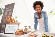 Female Bakery Stall Holder At ...
