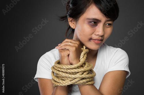 Women tied up thumbs