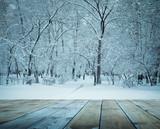 Podest do zimowego lasu