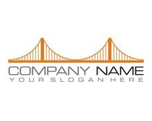 Orange Bridge Logo Icon Vector