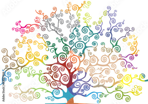 Fotografia  Drzewo z zakrzywionymi i kolorowymi gałęziami