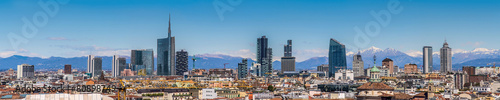 Garden Poster Milan Milan Italy - panoramic view of new skyline