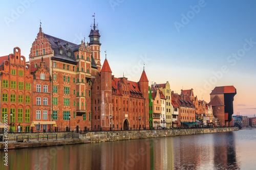 Winter sunrise scenery of Gdansk old town