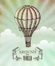 Aeronautic Adventure. Vector Vintage Illustration With Balloon