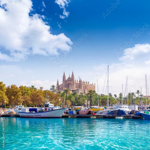 Fotografie, Obraz  Palma de Mallorca port marina Majorca Cathedral
