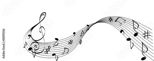 Fotografie, Obraz Solfeggio bianco e nero con chiave e note musicali