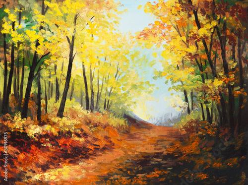 Photo Stands Melon Oil painting landscape - colorful autumn forest