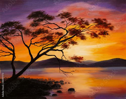 obraz-olejny-zachod-slonca-nad-jeziorem-sztuka-abstrakcyjna