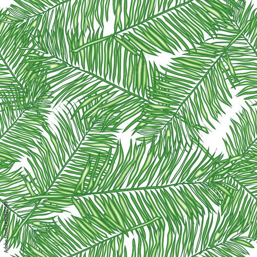 Fotobehang Tropische bladeren Palm leaves, abstract vector seamless pattern