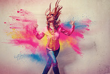 Dancing Girl In Powder Explosi...