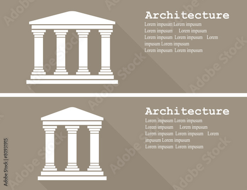 Photo Greek temple icon vector illustration flat