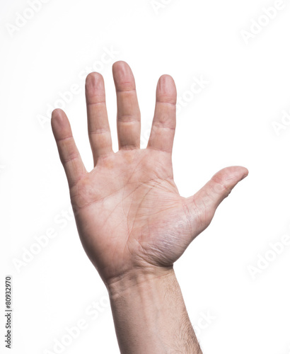 Fotografie, Obraz  hand making the number five