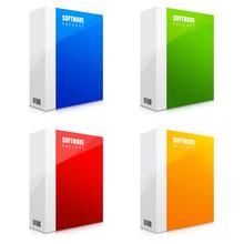 Zestaw Ilustracji Kolorowych Pudełek Z Oprogramowaniem