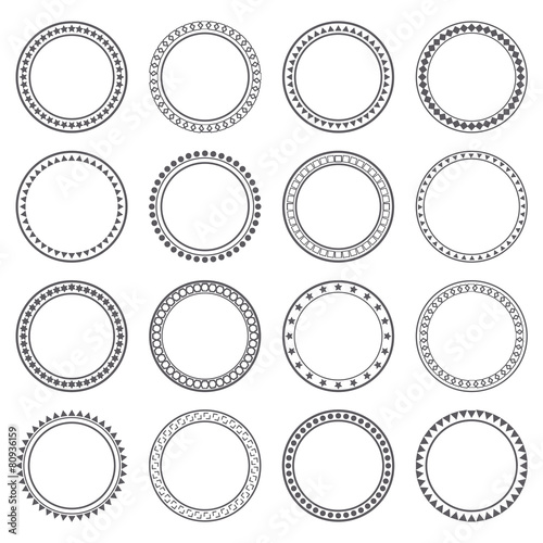 Collection of ethnic borders. Round frames. Decoration elements Fototapete