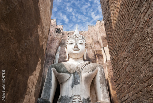Ancient buddha statue. Sukhothai Historical Park, Sukhothai Prov Canvas Print