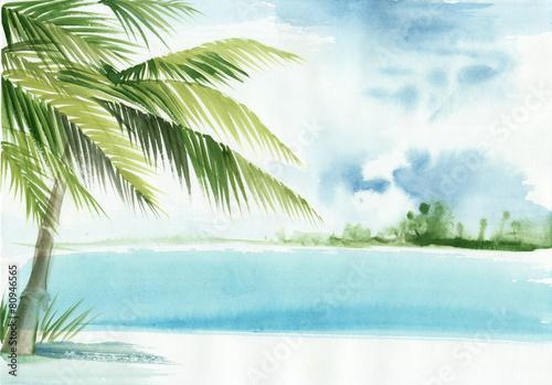 zielone-palmy-plaza-i-turkusowe-morze-akwarela