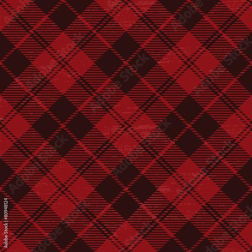 plakat Red grunge plaid tartan 1