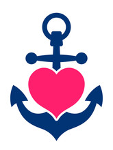 Blue Marine Anchor With A Pink...