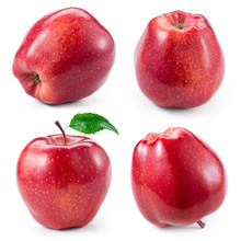 Red Apple Isolated On White. Collection. With Clipping Path