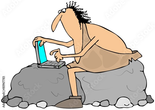 Photo  Caveman using a laptop computer