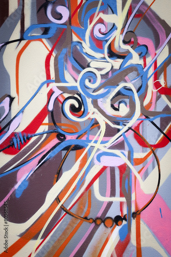 Foto auf AluDibond Graffiti Mur de graffiti abstrait coloré