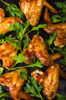 Roasted spicy chicken wings with parsley