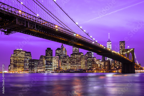 Photo  New York City Manhattan Brooklyn Bridge night skyline