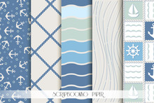 Set Of Blue And White Sea Patterns. Scrapbook Design Elements.